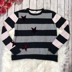 Lisa Todd Lucky Star Striped Crewneck Sweater